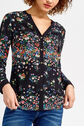 Oasis, DITSY PLACEMENT SHIRT Multi Black 4