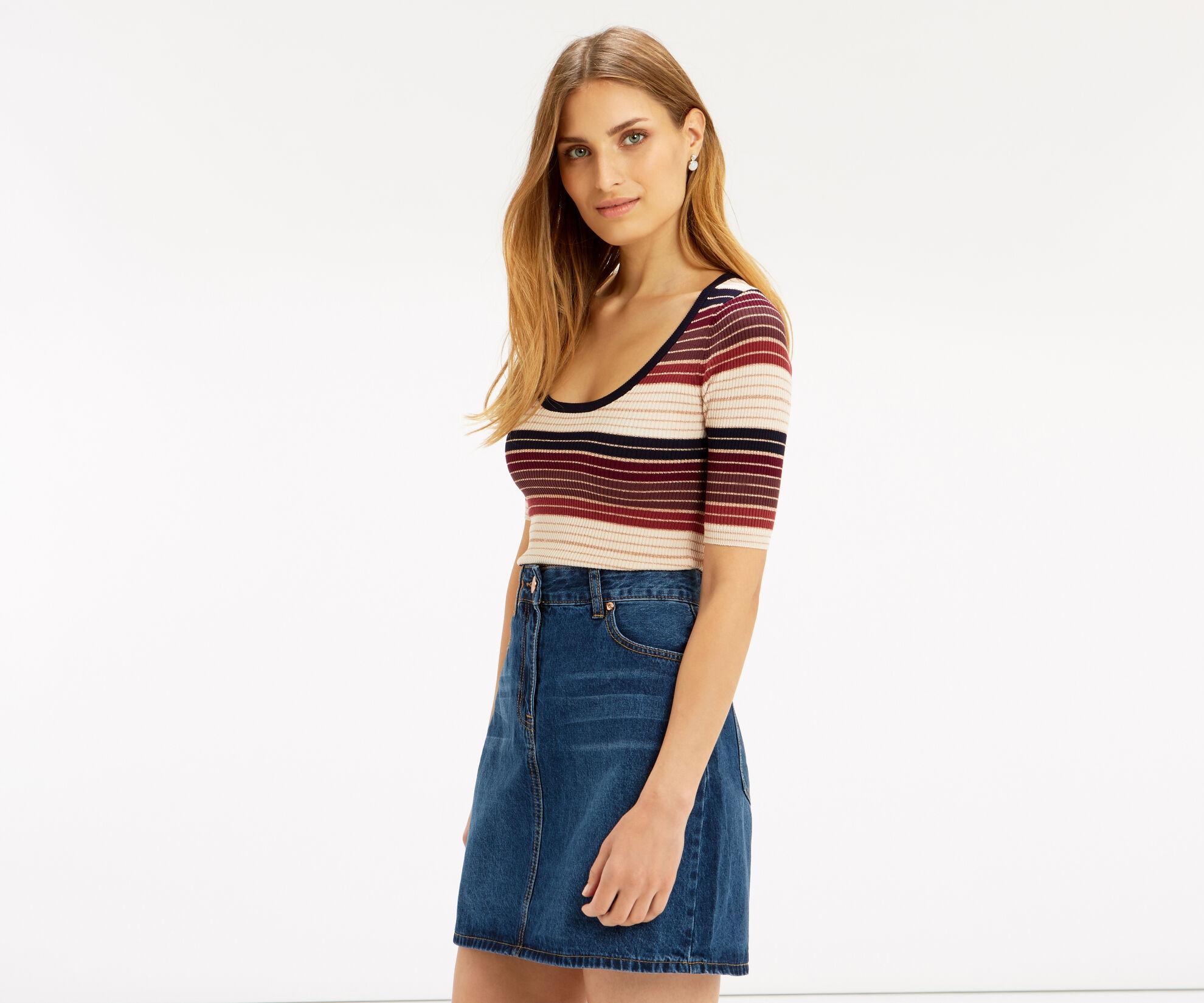 Oasis, Sparkle stripe knit top Multi 1