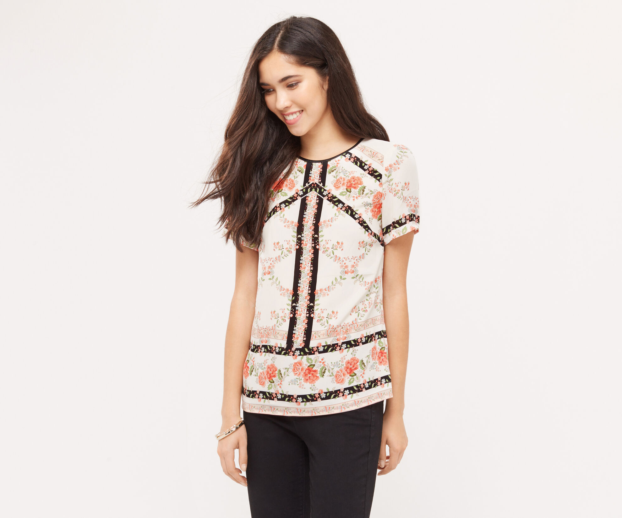 Oasis, NEW ENGLAND HIGH NECK T-SHIRT Multi Natural 1