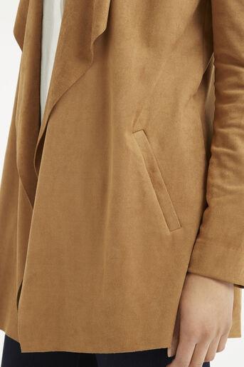Oasis, Suedette Drape Jacket Tan 4