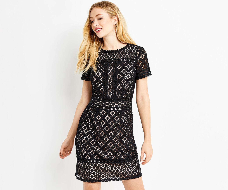 Oasis, ISLA LACE SHIFT DRESS Black 1