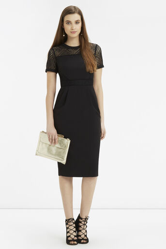 Oasis, Lace Trim Pencil Dress Black 2