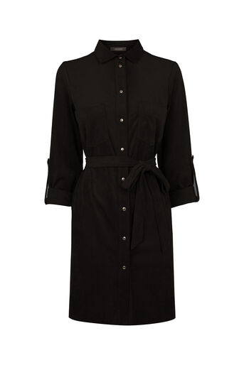 Oasis, Suedette Shirt Dress Black 0