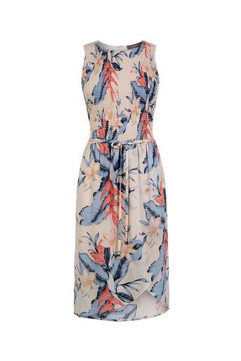 Oasis, Tropical Fancy Smocked Dress Multi Pink 0