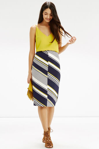 Oasis, Memphis Stripe Pencil Skirt Multi Blue 2