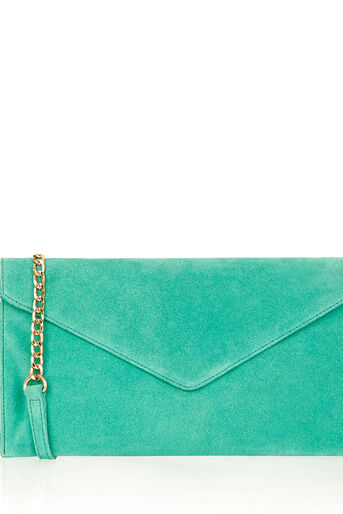 Oasis, SUEDE JESS ENVELOPE CLUTCH Mid Green 0