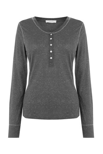 Oasis, HENLEY SPARKLE TRIM TOP Dark Grey 0
