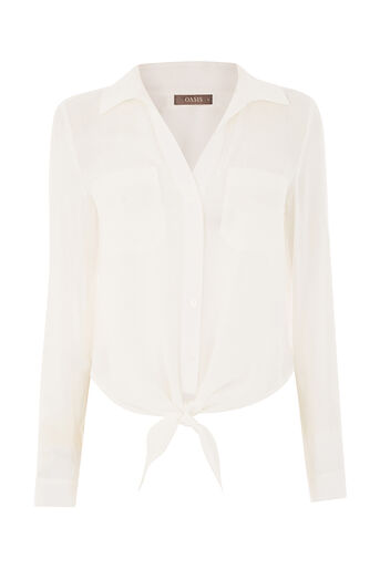 Oasis, TIE FRONT SHIRT Natural 0