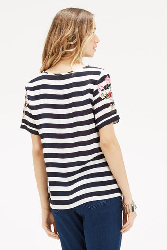 Oasis, Formal Stripe Embroidered T-Sh Black and White 3