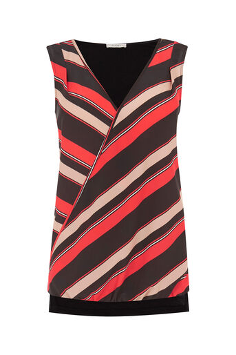 Oasis, Diagonal Stripe Front Top Multi Red 0