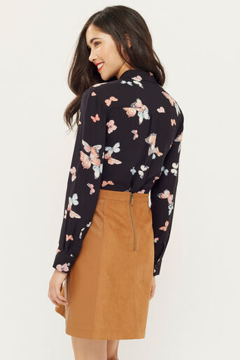 Oasis, BUTTERFLY SCALLOP SHIRT Multi Black 3