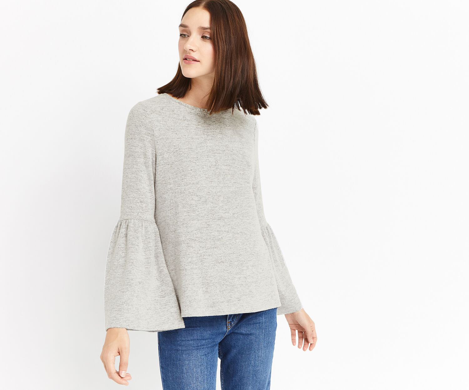 Oasis, BELL SLEEVE SWEAT Mid Grey 1