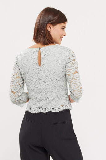 Oasis, LACE TOP Pale Grey 3