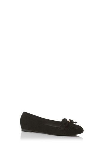 Oasis, SINDY SUEDE SOFT MOCCASIN Black 0