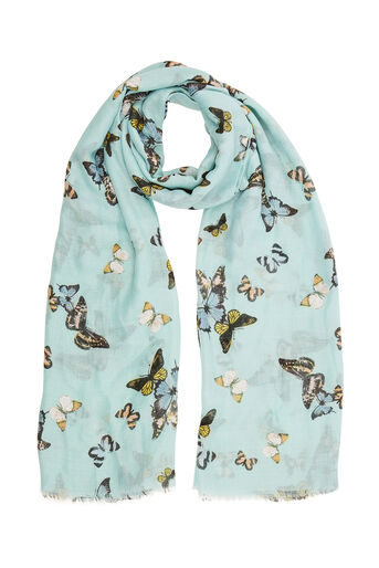 Oasis, BUTTERFLY PRINT SCARF Multi Blue 0