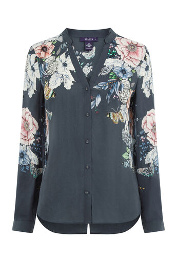 Oasis, FOREST FLORAL SHIRT Multi Grey 0