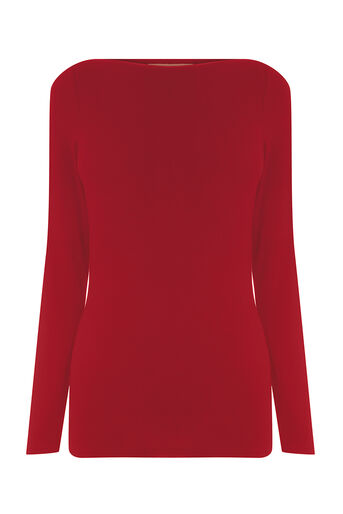 Oasis, ENVELOPE NECK TOP Mid Red 0