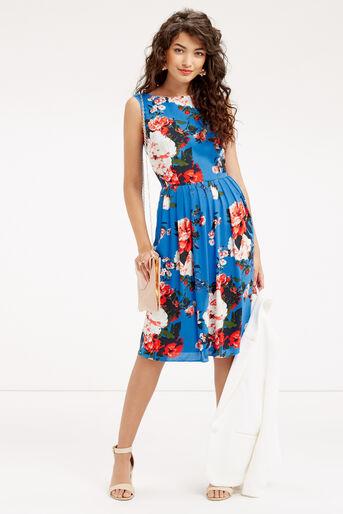 Oasis, LONG ROSE DRESS Mid Blue 2