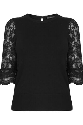 Oasis, Lace fluted sleeve top Black 0