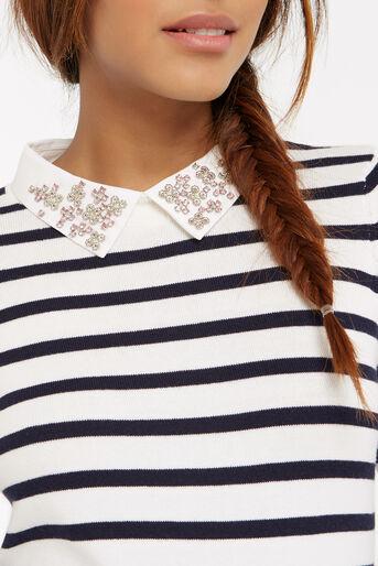 Oasis, Stripe embellished collar knit Multi 4
