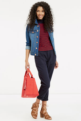 Oasis, Ribbed High Neck Top Multi 2
