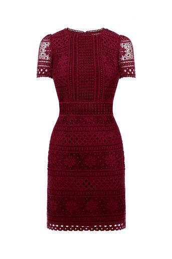 Oasis, AMY LACE DRESS Mid Red 0