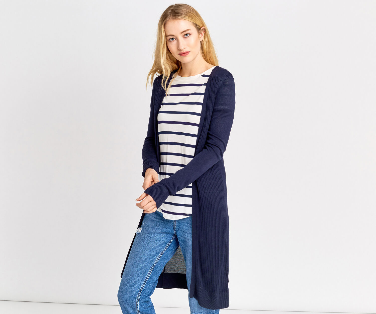 Oasis, Rib front edge to edge Navy 1