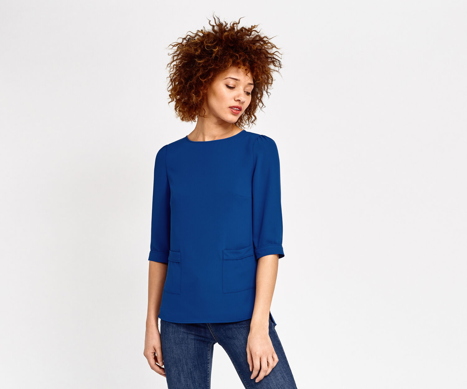 Oasis, PLAIN POCKET TOP Mid Blue 1