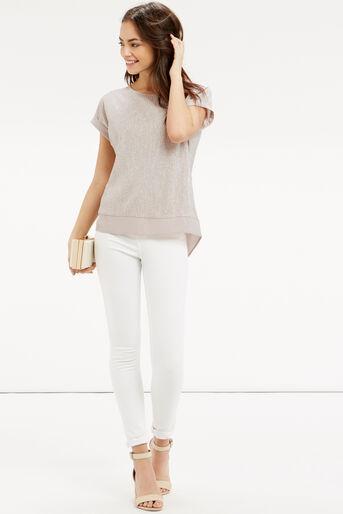 Oasis, Crinkle Sparkle T-Shirt Mid Neutral 2