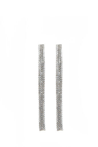Oasis, LONG CRYSTAL TASSLE EARRINGS Crystal 0