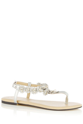 Oasis, FREDA FLORAL TOE POST Mid Grey 0