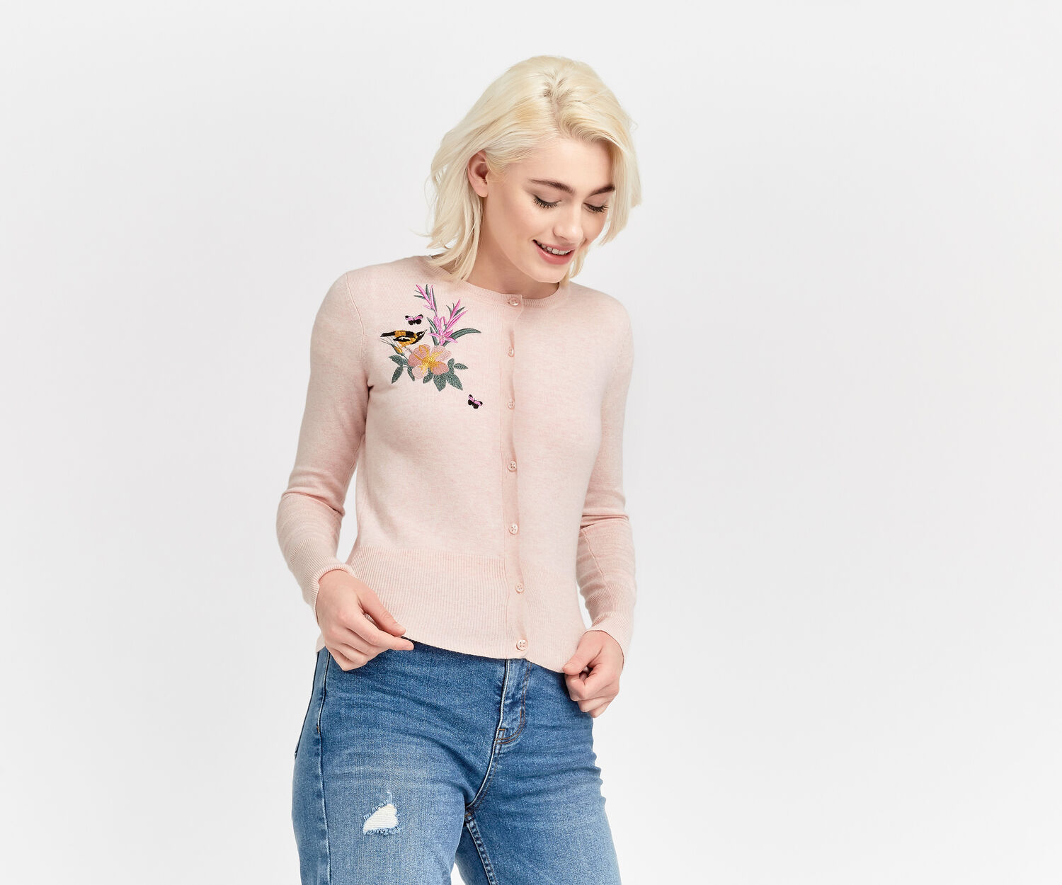 Oasis, EMBROIDERED CREW CARDI Powder Pink 1