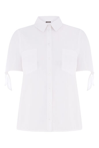 Oasis, COTTON TIE SLEEVE SHIRT White 0