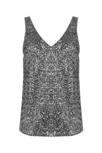 Oasis, SEQUIN V-NECK TOP Silver 0