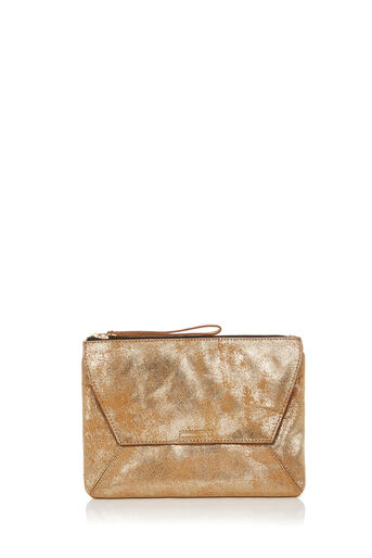 Oasis, LEATHER DEX CLUTCH Gold 0