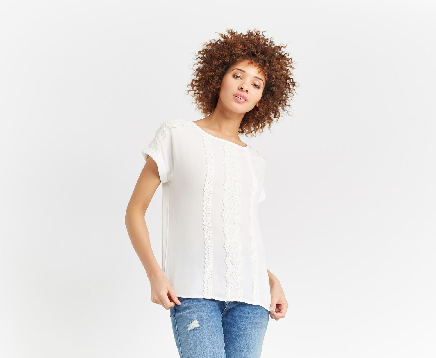 Oasis, PRETTY TRIM TEXTURE TEE Off White 1