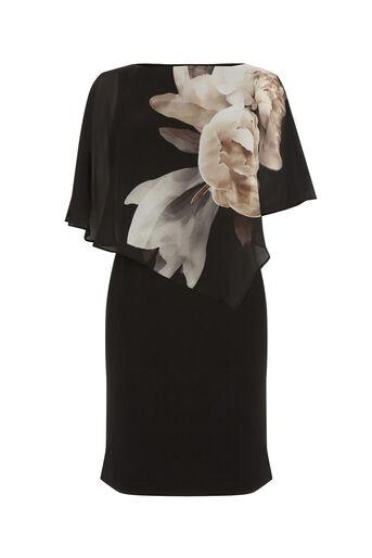 Oasis, PEONY OVERLAY DRESS Black 0
