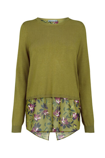 Oasis, Painted rose wrap back knit Khaki 0