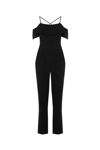 Oasis, COLD SHOULDER JUMPSUIT Black 0