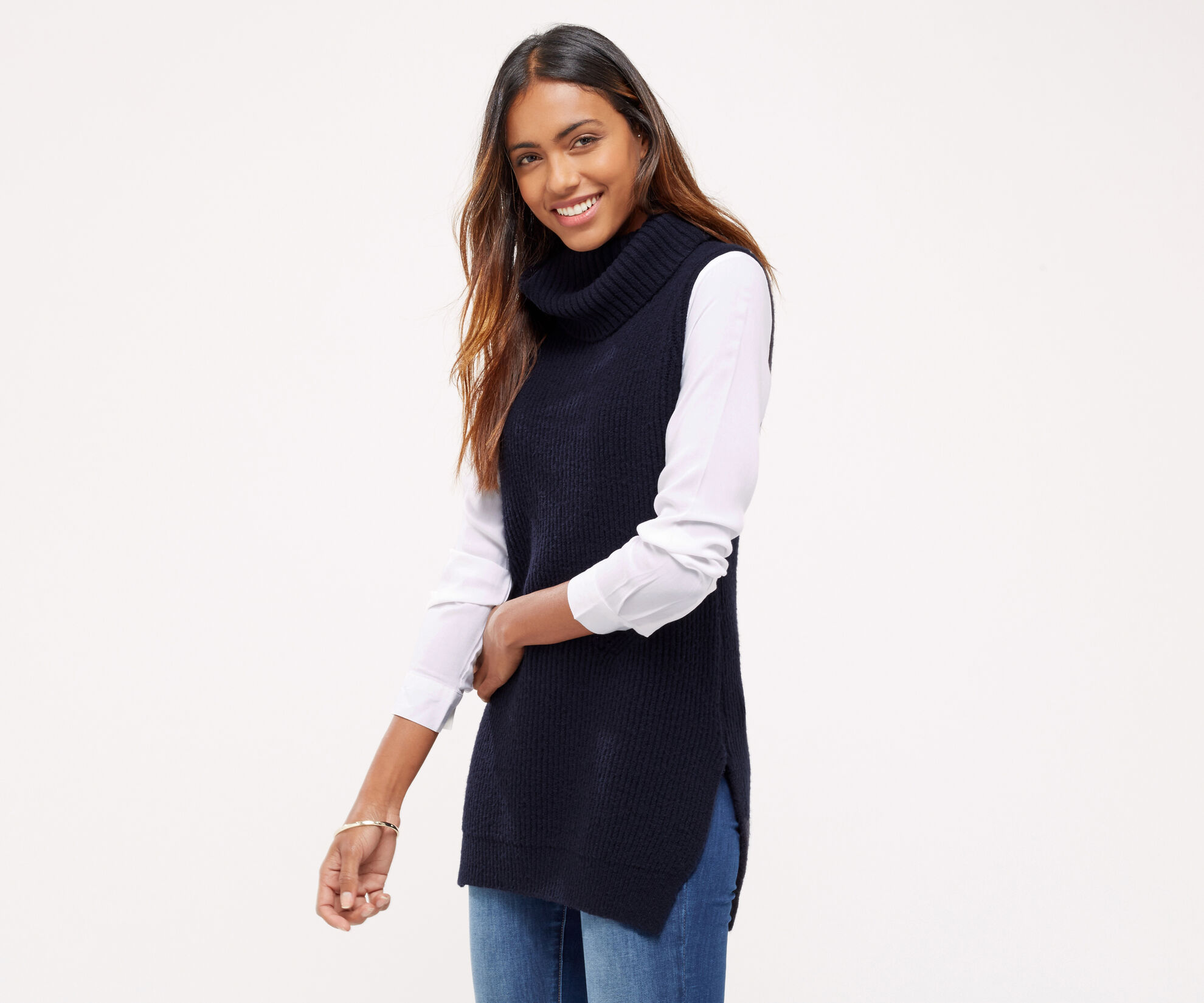 Oasis, Knitted shirt tabard Navy 1