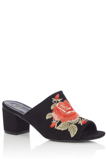 Oasis, EMBROIDERED MULES Black 0