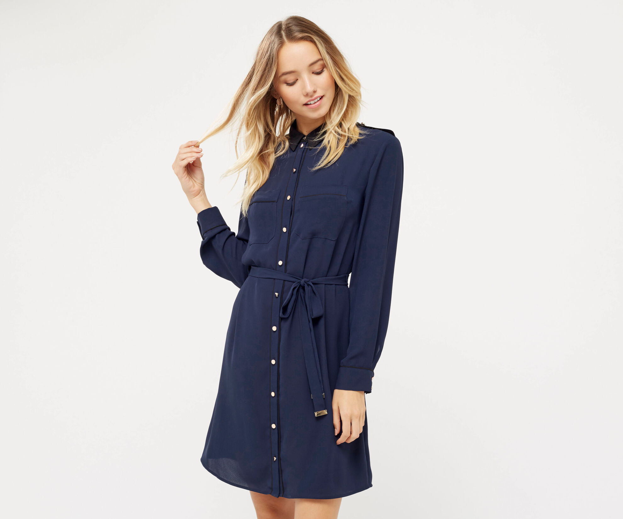 Oasis, UTILITY PIPED SHIRT DRESS Navy 1