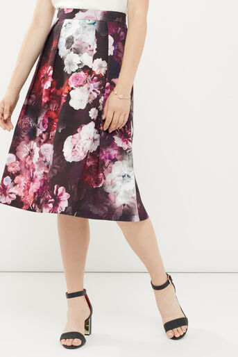 Oasis, WINTER FLORAL MIDI SKIRT Multi 1