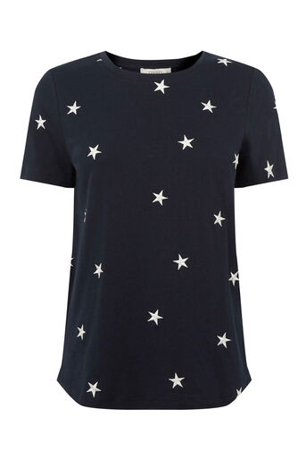 Oasis, STAR EMBROIDERED TEE Navy 0