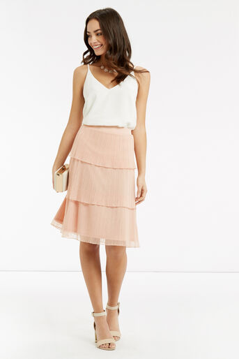 Oasis, Tiered Skirt Pale Pink 2