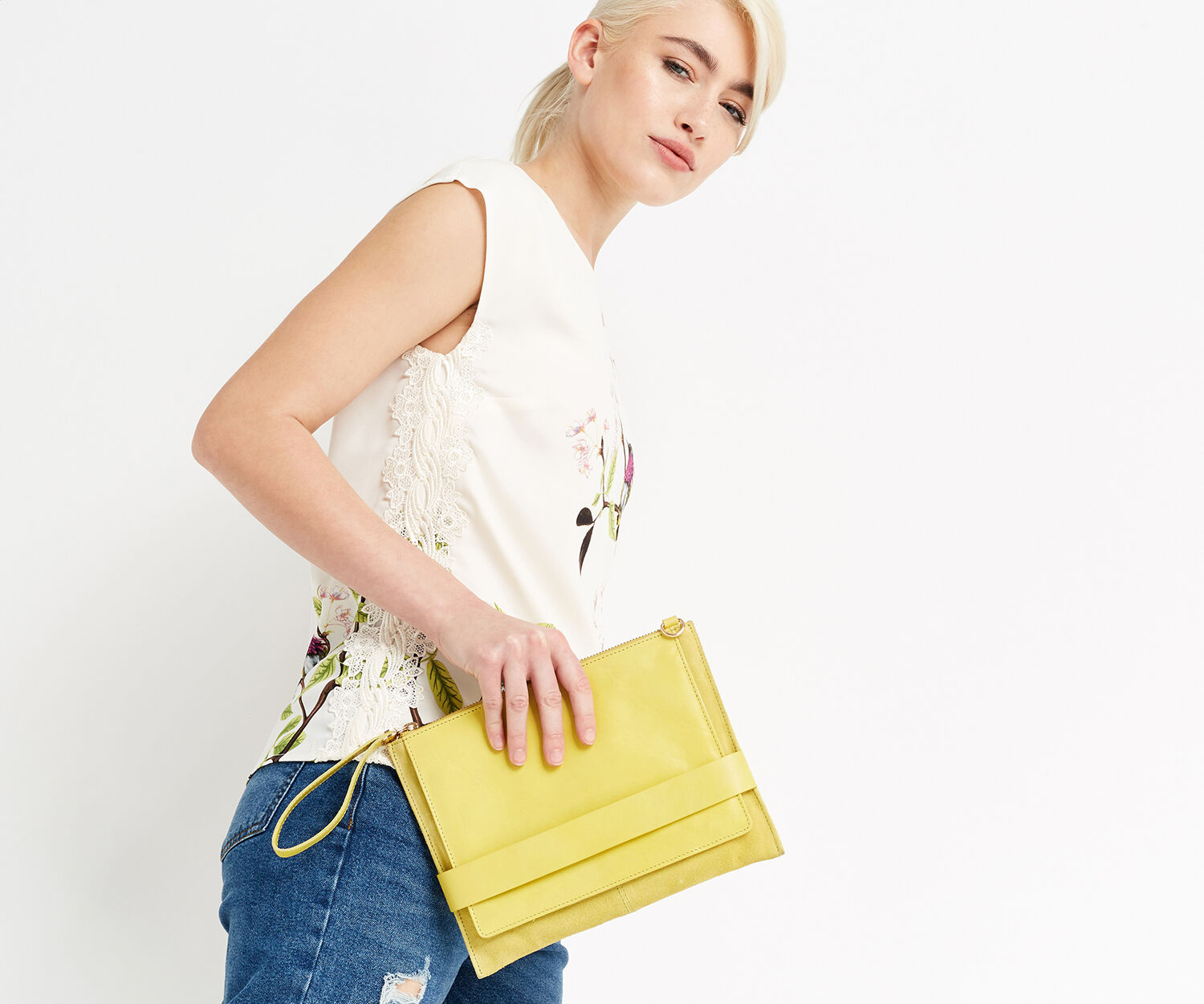 Oasis, LEATHER CROSS-BODY CLUTCH Mid Yellow 1