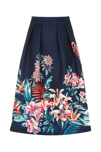 Oasis, Tropical Jacquard Midi Skirt Multi Blue 0