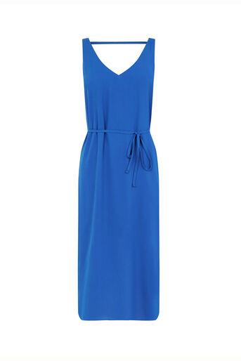 Oasis, V Front And Back Midi Dress Mid Blue 0