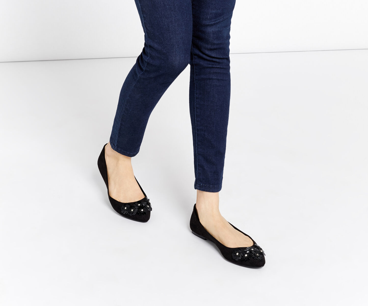 Oasis, FRANCESCA FLOWER FLATS Black 1