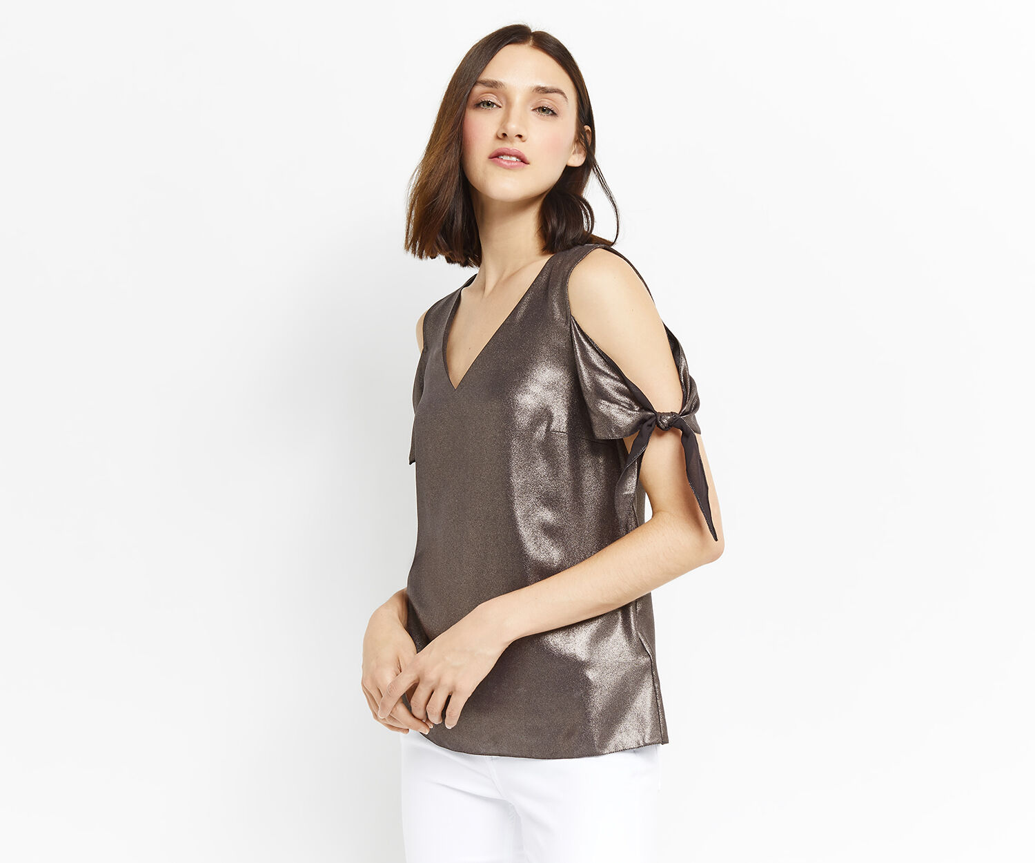 Oasis, METALLIC TIE SHOULDER TOP Gold 1